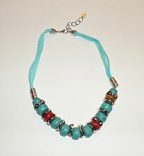 "20"" 22"" CHUNKY FAUX TURQUOISE BEAD NECKLACE suede CORD SILVER PLATED TRIBAL BD"