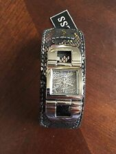 GUESS Women's Watch Black Snake Cuff Silver Tone Shiny U0054L1 Rare Case New