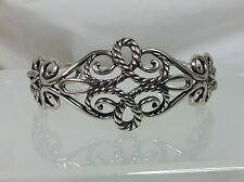 New Carolyn Pollack Sterling Silver Rope Design Cuff Bracelet Large
