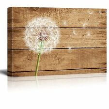 "Canvas Prints - Artistic Abstract Dandelion on Vintage Wood Background - 12""x18"""