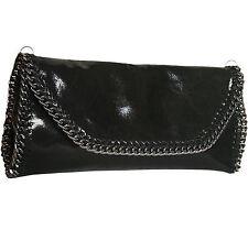 Italienische Handtasche Tasche Clutch Abendtasche Leder weich Schwarz Glitzer