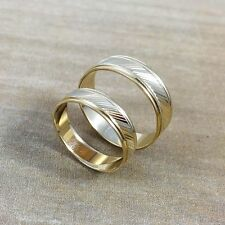 His & Hers 14K Solid Yellow Gold Matching Wedding Band Ring Set Slant Laser Cut