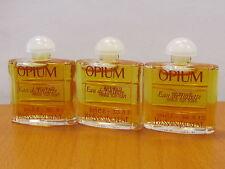 Vintage lot of 3 glass Bottle Opium Yves Saint Laurent Perfume Women 3,5 ml/ 01