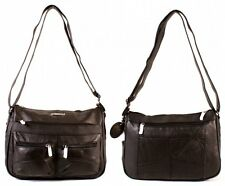 WOMEN'S LADIES SHOULDER BAG HANDBAG LEATHER BLACK LORENZ EXTRA COMPARTMENTS