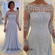 Custom Long Sleeve Lace Evening Mother Of The Bride Dress Formal Prom Gown New
