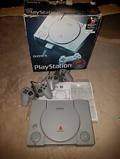 Sony Playstation I Game console. Comes in Original box Untested with 2 remotes