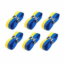6 x Karakal Super DUO PU Replacement Grips Yellow/Blue Tennis Squash Badminton