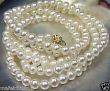 Beautiful!7-8mm White Akoya freshwater Cultured Pearl Necklace 25""