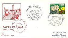 ITALIA BUSTA Capitolium PATTO GRANDI BUOZZI DI VITORIO ANNULLO ROMA  FDC 1984