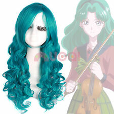 Sailor Moon Neptune Kaiou Michiru Green Long Wavy Cosplay Full Wig