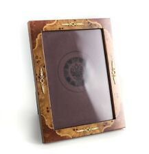 Vintage Italian Marquetry Wood Gilt Sterling Silver 5x7 Photo Frame