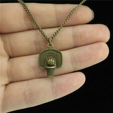 "15-5 18"" Bronze Chain Collar Choker Necklace Sports Basketball Stands Pendant"