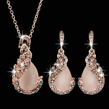 Elegant Women Peacock Crystal Rhinestone Pendant Necklace Earrings Jewelry Set