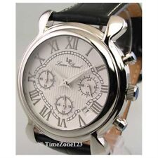 Lucien Piccard Mens Leather 3 Eye Chronograph White Dial Watch 28118BK