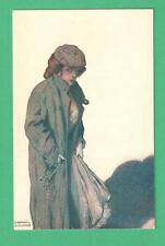 VINTAGE RAPHAEL KIRCHNER ART POSTCARD MYSTERIOUS LADY TRENCH COAT HAT JAIL KEYS