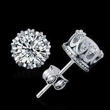 1 Ct 18K White Gold Plated Pure Silver Imperial Crown Zircon Ear Stud Earrings