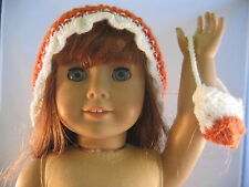 Hand Knit Girl Doll Clothes BRIM WHITE RUST HAT  PURSE Doll Clothes American m