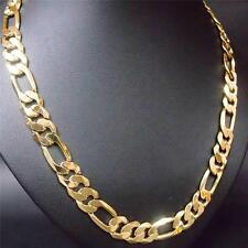 """18K Yellow Gold Filled 23.6""""Men's Jewelry Figaro Chain (Curb) Necklace AU FN3080"""