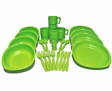 26 Pcs Plastic Picnic/Camping/BBQ/Party Dinner Plate Bowl Mug Cutlery Set GREEN