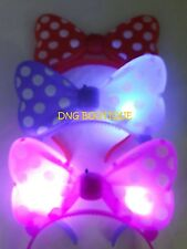 12 PCS LIGHT UP MINNIE MICKEY MOUSE BOWS POLKA DOTS HEADBANDS MULTI COLOR EARS