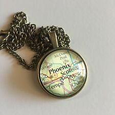 PHOENIX ARIZONA TEMPE MESA SCOTTSDALE McDOWELL Map Pendant necklace ATLAS f04