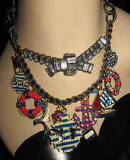 BETSEY JOHNSON YACHT CLUB SPECTATOR NAUTICAL ANCHOR BOAT STATEMENT NECKLACE