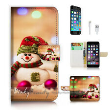 iPhone 7 (4.7') Flip Wallet Case Cover P2334 Xmas Snowman