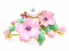 Pink enamel plum flower brooch / pin with pearl and crystal