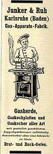 Junker & Ruh Karlsruhe GAS-APPARATE-FABRIK  Historische Reklame von 1908