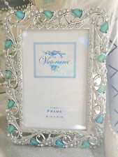 "Shabby Silver Ornate Chic Picture Blue Jewel Stone Rhinestone Photo Frame 4""x6"""