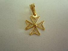 nuova 18k 18ct malta croce maltese filigrana ciondolo oro giallo misura 2