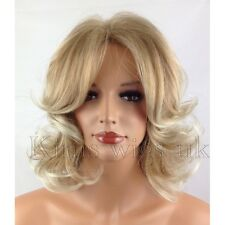 FULL SHORT WOMENS LADIES FASHION HAIR WIG CURLY TWO TONE BLONDE SHOULDER LENGTH