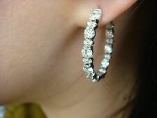 """4.25 CT LARGE DIAMONDS IN AND OUT """"GARLAND"""" DESIGN OVAL HOOP EARRINGS, 7.6 GRAMS"""