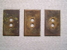 LOT OF 3 ANTIQUE VINTAGE SOLID BRASS DIAMOND H PUSH BUTTON SWITCH PLATE COVERS