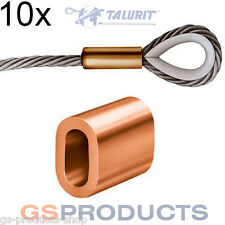 10x 2mm Talurit Copper Ferrules for Stainless Steel Wire Rope Crimping Sleeves