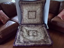 "CROSCILL HOME SET PILLOW SHAMS POLYESTER BLEND FLORAL PURPLE BROWN 25"" SQ EURO"