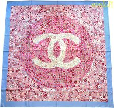 CHANEL blue pink Camellias CC LOGO centers Silk twill GIANT Shawl scarf NEW Auth