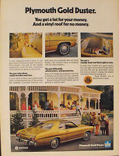 1973 Plymouth Gold Duster Canopy Vinyl Roof Chrysler Car Collectible Promo Ad
