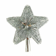 New Retro Vintage Style Silver Tinsel Star Tree Top Decoration Topper Christmas