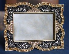 New JAY STRONGWATER Morgan Scalloped Pave Swarovski Crystal Enamel Picture Frame