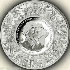 2015 Somalian Elephant 12TH ANNIVERSARY SILVER KILO COIN PUZZLE African Wildlife
