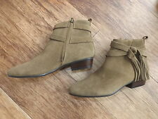 M&S OLIVE SUEDE ANKLE BOOTS SIZE 3.5 EUR 36 LADIES BNWT TASSEL DETAIL RP £65