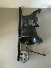 Vintage Heavy Cast Iron Farm Bell and Mounting Bracket With Horse Design