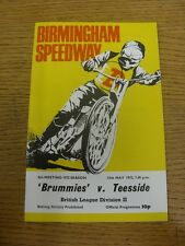 15/05/1972 Speedway Programme: Birmingham v Teeside (results noted, minor rustin