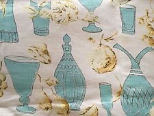 Vintage Mid Century Shabby Chic Teal and Gold Tablecloth 48 x 48