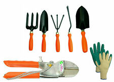 Easy Gardening - Garden Tools Kit(5Tools)+Pruning Secateurs+Knit Gardening Glove