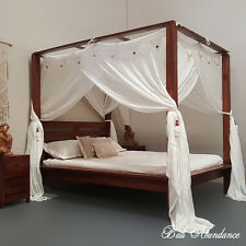 MAXI Minimalistic Four Poster Hand Carved Bed Chestnut Queen Size Teak Wood
