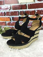 NWOB NINE WEST JINIO BLACK SUEDE LEATHER WOMENS WEDGE BUCKLE SHOES SIZE 8-1/2M