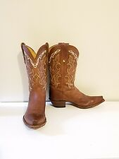 Tony lama brown leather cowboy riding western boots 6.5 womens star equestrian