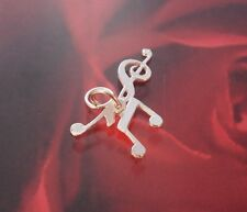 New Sterling Silver 3d triple music notes charm - pendant - boxed